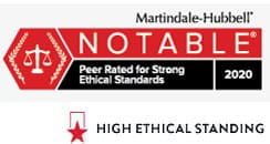 Martindale-Hubbell | Notable | Peer Rated for strong Ethical Standards 2019 | High Ethical Standing